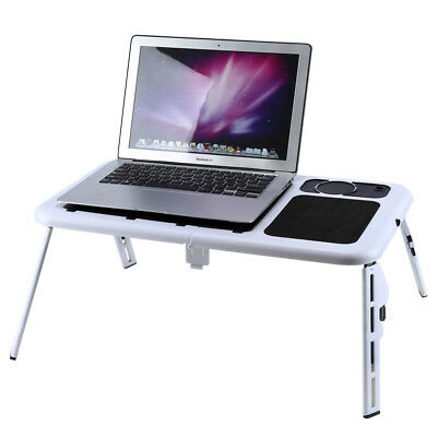 Foldable Laptop Computer iPad Desk Adjustable Stand Table Bed Tray w/ Fans