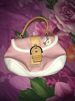 Coach Pink Canvas And White Leather Purse