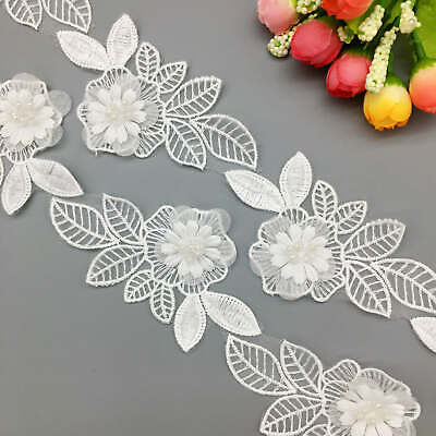 1 Yard Organza Embroidered Flower Beads Lace Leaves Trim Ribbon Applique Sewing