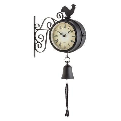 12 cm IN / OUTDOOR VINTAGE WALL CLOCK THERMOMETER & DINNER BELL WEATHER PROOF