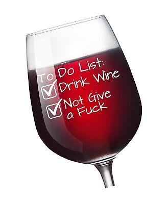 To Do List Funny Wine Glass 13 oz - Retirement Party Mothers Day Novelty Wine...