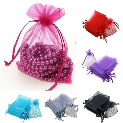100Pcs Luxury Organza Gift Bags Jewellery Pouch XMAS Wedding Party Candy Party