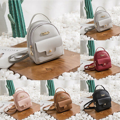 Women Girls School Bag PU Leather Backpack Mini Rucksack Purse Travel Handbag