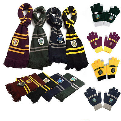 Harry Potter Scarf Cosplay Tie Led Wand Costume Gryffindor Slytherin Adult Kids