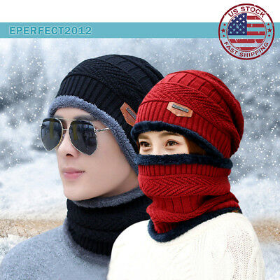 Winter Beanie Hat Fleece Warm Balaclava Snow Ski Snood Scarf for Kids Men Women