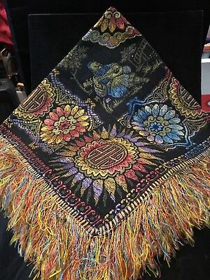 "c1920s JACQUARD TABLECLOTH~Egyptian Revival~Exotic Colors~32x32"" + 3.5"" Fng!"