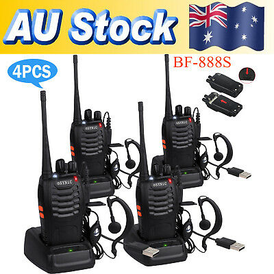 4xPortable Walkie Talkie UHF 400-470MHz 16CH BF-888S Two-Way Radio 5kilometer AS