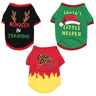 US Pet Dog Santa Christmas Festival Clothes Shirt Puppy Pullover Hoodies Costume