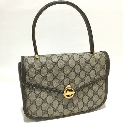 a80a33d8c46 AUTHENTIC GUCCI GG Plus Old Gucci Handbag Hand Bag Beige Brown PVC x Leather