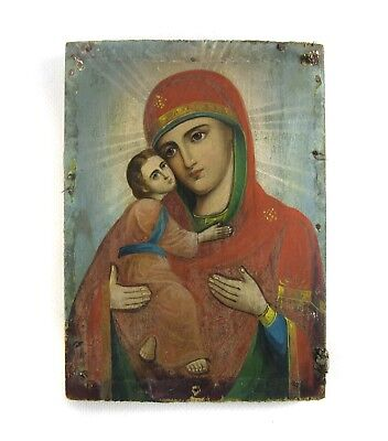 Antique Icon Vladimir Mother of God  Orthodox Russian Empire Wood 178x128 mm