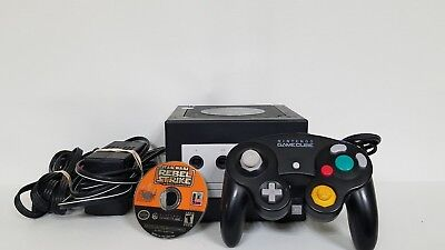 Nintendo GameCube Console Jet Black Console System Tested with 1 game