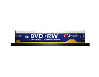 Verbatim DVD+RW 4.7Gt Matt Silver 4x Spindle 10 Pack 43488
