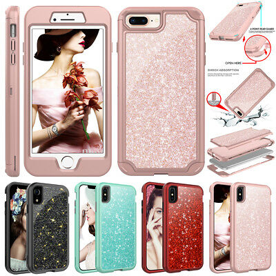iPhone XS Max XR X 7 8 Plus Case Bling Glitter Full Shockproof Hard Armor Cover