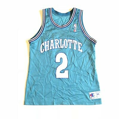 MEN S VTG CHAMPION NBA Charlotte Hornets Larry Johnson Practice ... 5f3155930