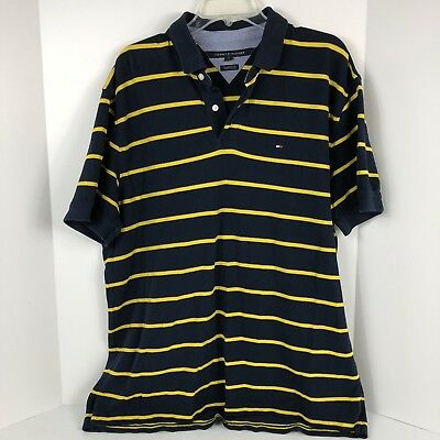 Mens Tommy Hilfiger Short Sleeve Polo Shirt Blue Yellow Stripes Sz XL