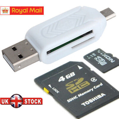 Micro USB OTG to USB 2.0 Adapter SD Card Reader For Android Phone Tablet PC GB