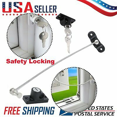 3 sets Lockable Window Security Cable Lock Restrictor Safety Stainless Key MX