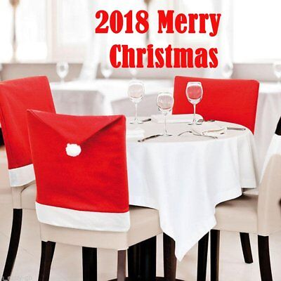 US Xmas Table Chair Covers Santa Red Hat Set Chair Back Dinner Party Decor Hot