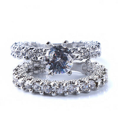 Round Crystal Six-Prong Inlay Ring For Wedding Engagement Party Jewelry LH