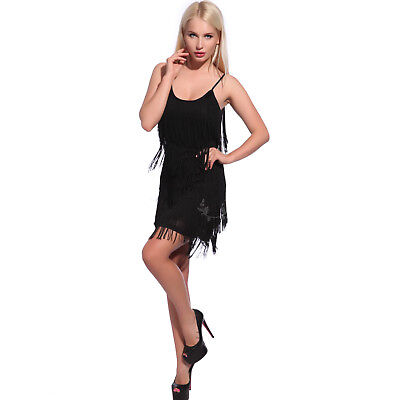 Retro 20s Gatsby Charleston Flapper 5 tiered Fringe Cocktail Party Evening Dress