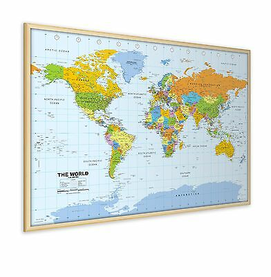 Pinboard World Map with Real Wood Frame, includes a packet of twelve flag pins