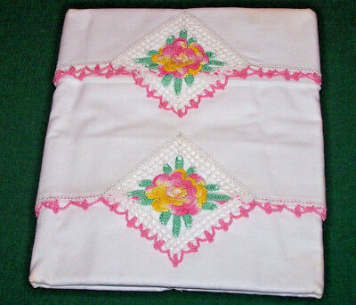 Fabulous Pair Of Vintage, Antique Pillowcases, Crocheted Rose Trim, Never Used