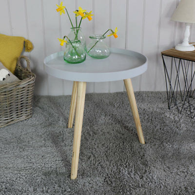 Round grey side plant table scandi style home living room furniture display