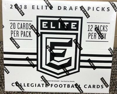 2018 Panini Elite Draft Picks Collegiate Football 20 Ct. Jumbo Pack Sealed Box.