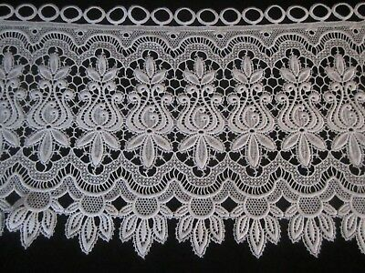"Heritage Lace?  White Floral Lace Bay Window Valance 124"" x 16"""