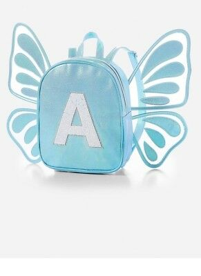 Justice Girls Butterfly Wing Blue Initial A Mini Backpack