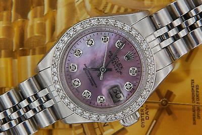 Rolex Datejust Ladies Stainless Steel Pearl Diamond Watch Automatic w/ Rolex Box