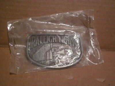 Vintage - Raleigh Lights Cigarettes Tobacco BELT BUCKLE Semi Truck Graphics (NEW