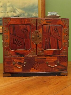 Japanese Marquetry Kodansu Cabinet, wedding gift with tsuru, early 20th century