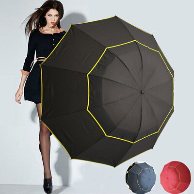 "51"" LARGE Folding Rain Umbrella Anti-UV Windproof Big Oversized For Men Women"