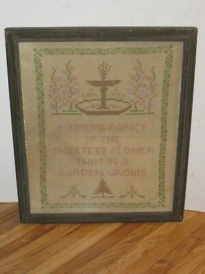 Antique 19th Century Linen Sampler With Pictorals And Poem