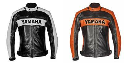 Yamaha Motorcycle Black Men's Biker Leather Jacket Rider Cafe Racer Outerwear
