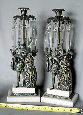 Pair Antique Victorian Girandole Candlestick holders bronzed crystal marble base