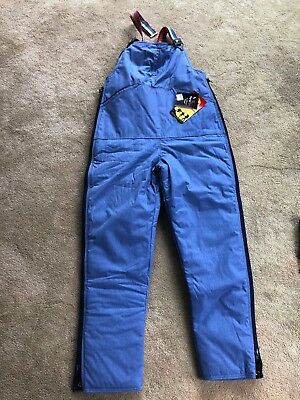 Refrigiwear Overalls Zipper Side Snap Bottom NOS w/ Tags Blue Med Rainbow Straps
