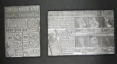 Vintage Antique Metal Printers Block Pharmaceutical Medical Advertisements J1
