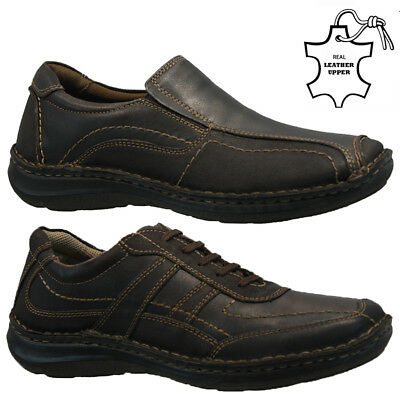 New Mens Leather Slip On Lace Walking Comfort Hiking Casual Moccasin Shoes Size