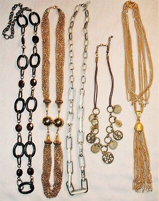 Lot of 5 Vintage Necklaces Coin, Tassel, Long Link SP, GP, Lucite Beads, Jewelry