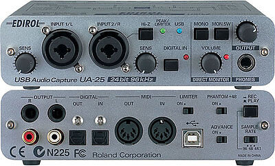 Roland Edirol Ua-25 Usb & Midi Audio Interface Capture 24 Bit Ua-22 Ua-55