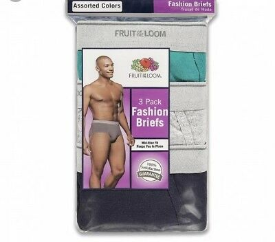Fruit Of The Loom Mens 9-Pack Fashion Briefs Tagless Assorted Colors!!