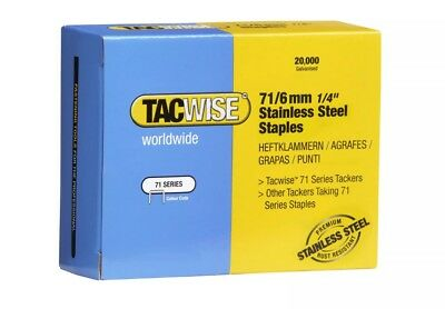 Tacwise Type 71/ 6mm Stainless Steel Staples for Staple Gun - (Box of 20,000)