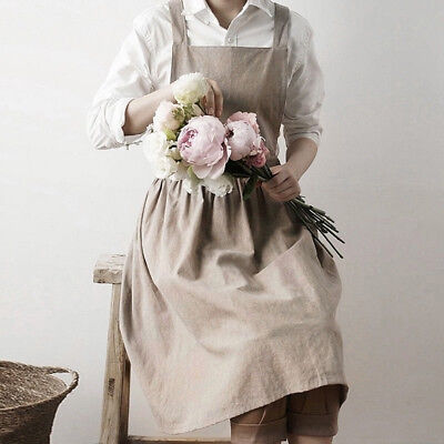 Apron Cotton Linen Pinafore Dress Cooking Florist Cafe Casual Workwear one