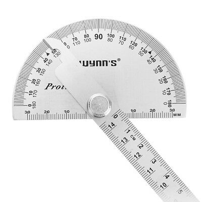 W0262A 90X150MM 180 Degree Stainless Steel Protractor Round Angle Ruler Tool