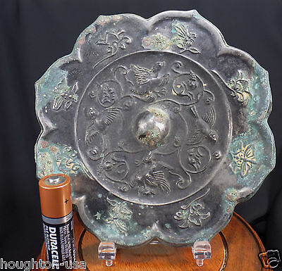 Ancient Chinese Silver-Plated, Bronze Bride's Mirror II:  Ducks & Nightingales