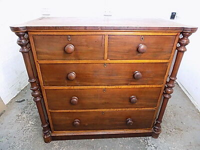 large,antique,victorian,mahogany,scotch,chest of drawers,columns,drawers,2over3