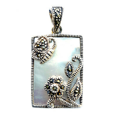 Mother-of-Pearl FRAMED PENDANT Flower Butterfly .925 STERLING SILVER