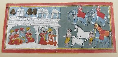 ANTIQUE INDIAN MINIATURE PAINTING  ILLUSTRATION FROM THE RAMAYANA circa 1820